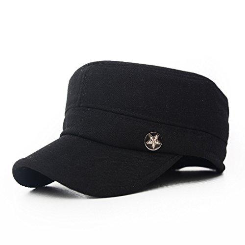 5590fb1023d Kuyou Men s Winter Warm Baseball Cap Adjustable Army Style Hat (Star Black)