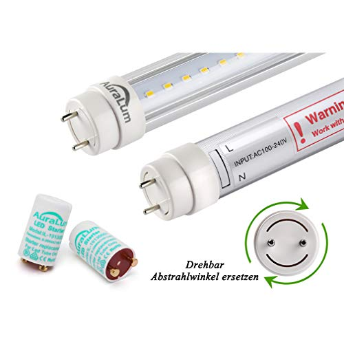 2 piezas DM T8 G13 120cm Tubo LED lámpara fluorescente 20W 2100lm Blanco de luz diurna (4000-4500K), cubierta transparente, Ángulo de haz 270°,