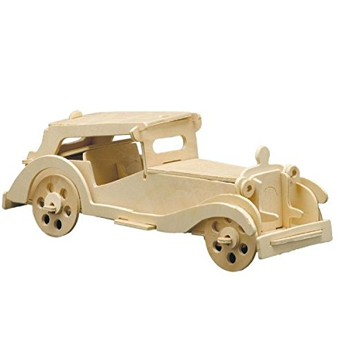 matches21 Holz Bausatz Oldtimer Auto MGTC 41-tlg. 27x10 cm Steckbausatz f. Kinder Holzbausatz