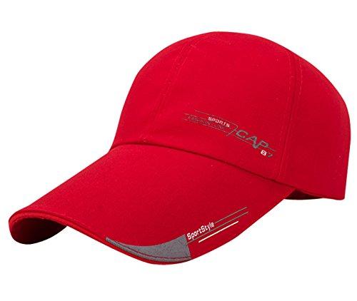 Aieoe Canvas Snapback Cap Klassische Kappe Sport Kappe Verstellbar Baseball Cap Trucker Cap - Rot
