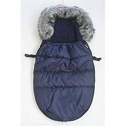 """Kutnik Chancelière universelle/sac de couchage Cocoon""""Polar"""" 100 cm pour poussette et luge (Bleu Marine avec Bleu Marine)"""