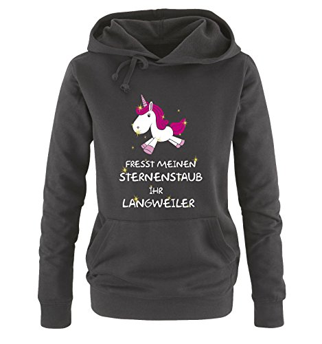 Comedy Shirts - Fresst meinen Sternenstaub Ihr Langweiler - Einhorn - Damen Hoodie - Schwarz /...