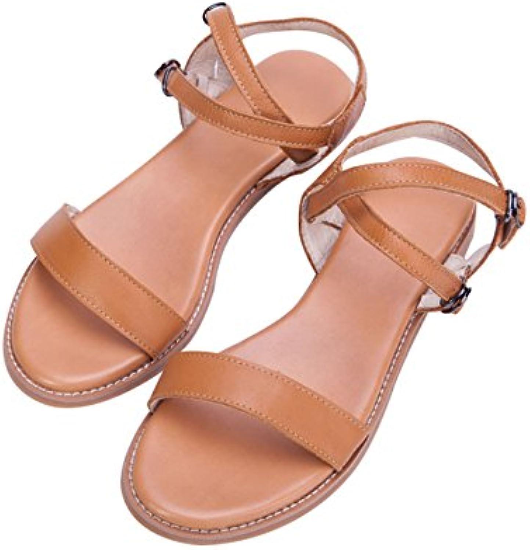 Youlee Mujer Verano Cuero Sandalias de Cuña Peep Toe Sandalias