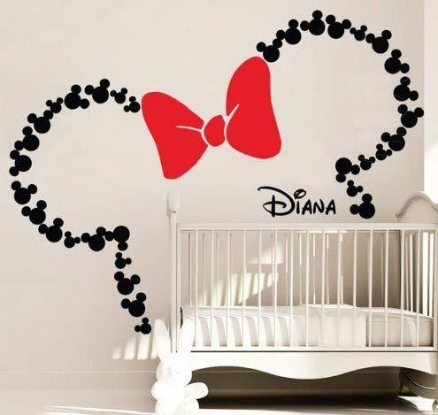 CMCC Große Wandaufkleber 84 x 52 Zoll Mickey Mouse Kopf mit Bogen PERSONALISIERTE Wandtattoo Mädchen Name Kinderzimmer Kinderzimmer Tapete