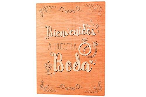 La Lluna Schild Holz HERZLICH WILLKOMMEN auf unserer Hochzeit