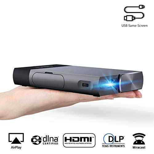 ExquizOn S1 Mini proiettore Portatile 100 ANSI Lumen DLP proiettore Supporto 1080P per iPhone/Android/Giochi/Laptop/TV Box Presentazioni Home Cinema ed Aria Aperta