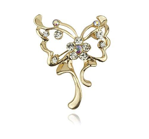 Broche dorado con forma de mariposa