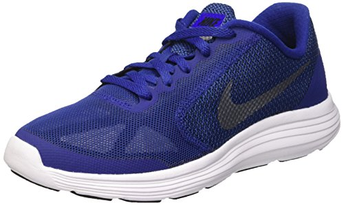 Nike Revolution 3 Gs, Running Garçon Bleu (Deep Royal Blue/Metallic Cool Grey/Black)
