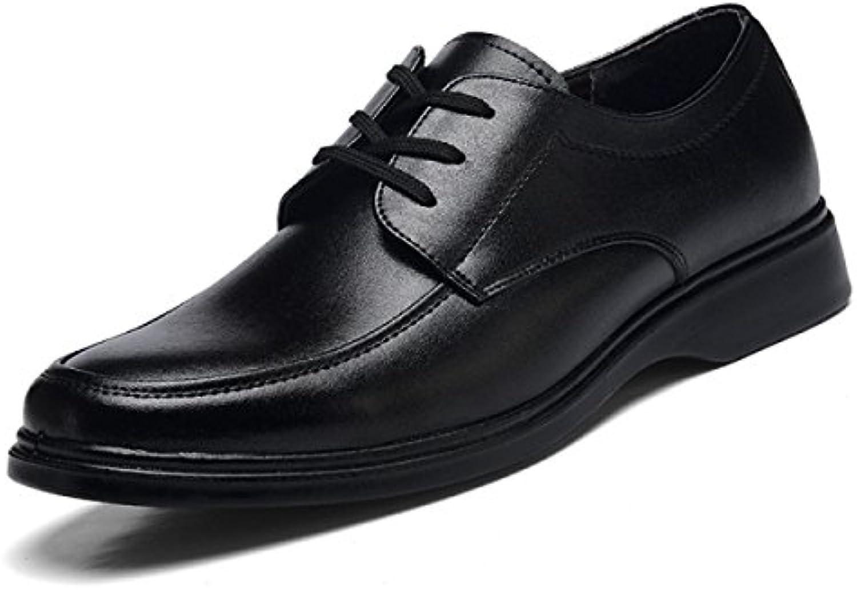 GRRONG Zapatos De Cuero De Los Hombres Traje Negro De Cuero Genuino