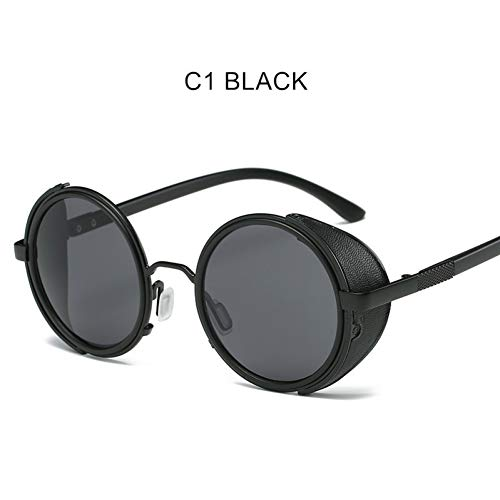 Chudanba Frauen Männer Steampunk Sonnenbrillen Winddicht Punk Sonnenbrille Sunglass Design Eyewear Metall Runde Für Männer,C1 Schwarz