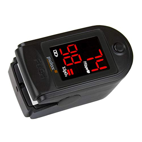 Pulsoximeter PULOX PO-100 mit LED-Anzeige inkl. Hardcase, Schutzhülle, Nylontasche und Trageband Fingerpulsoximeter Farbe: schwarz