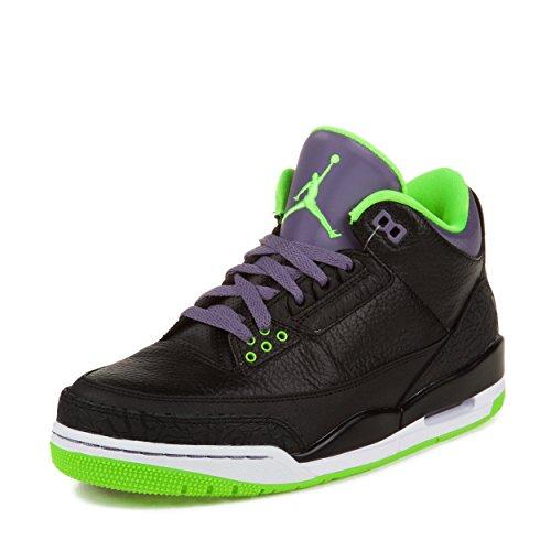 Air Jordan 3 10 Size (Nike Air Jordan 3 Retro 'Joker' Black/Elctrc Grn-Cnyn Prpl-Wht Trainer Size 10 UK)