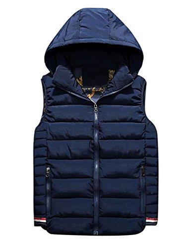 YouPue Manches Homme Pour Hiver Manteaux à Capuche Homme Veste Encapuchonné Zip Up Sans Manche Jacket Gilet Bleu