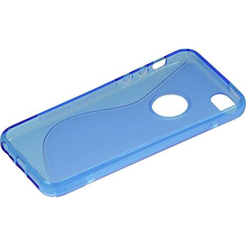 PhoneNatic Case für Apple iPhone SE Hülle Silikon blau S-Style Logo Cover iPhone SE Tasche + 2 Schutzfolien Blau