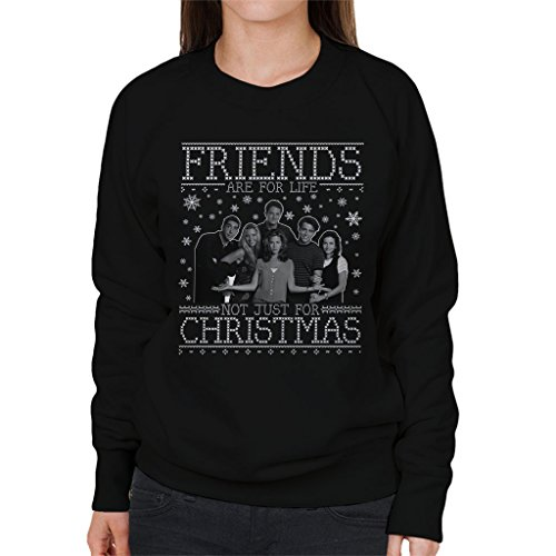 Friends Are Not Just For Christmas Knit Pattern Women's Sweatshirt Black