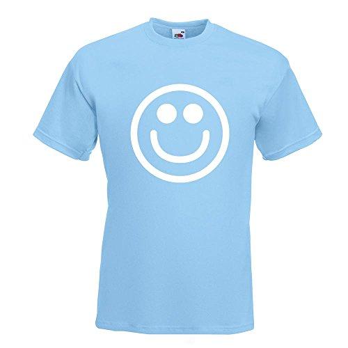 KIWISTAR - Grins-Smiley T-Shirt in 15 verschiedenen Farben - Herren Funshirt bedruckt Design Sprüche Spruch Motive Oberteil Baumwolle Print Größe S M L XL XXL Himmelblau
