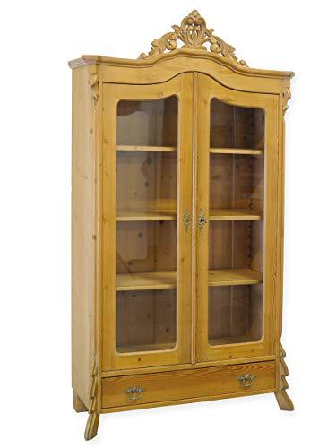 Antike Fundgrube Vitrine Vitrinenschrank Glasvitrine Louis Philippe um 1900 aus Weichholz (8868)