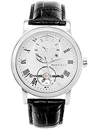 Boudier & Cie Herren-Armbanduhr Automatik Analog Leder Schwarz - B15H8