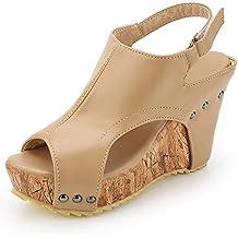 Sandalias Mujer Cuña Alpargatas Plataforma Bohemias Romanas Mares Playa Gladiador Verano Tacon Planas Zapatos Zapatillas Beige
