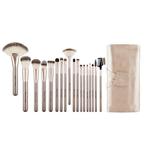 Make-up-Pinsel Pincel de Maquillaje, 18 Herramientas para maquillar, Conjunto Completo de Pinceles, Pincel para Sombras de Ojos,Champagne