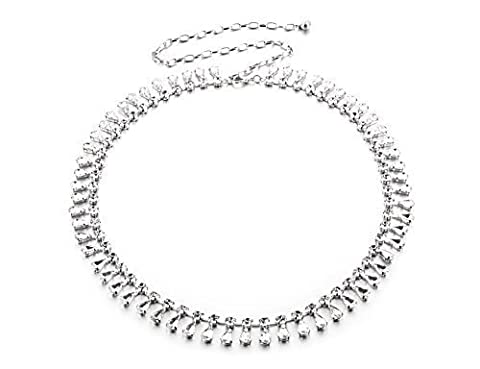 112cm Adjustable Fashion Waist Belts for Ladies - Silver Thin Tear Drop Designed Rhinestone Diamonds - Stylish Clasp Buckle for Women - Great Accessory for Fashionable Casual and Formal Wear 731