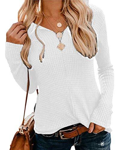 OranDesigne Pullover Damen Langarmshirt Casual Einfarbig Langarm T-Shirt V-Ausschnitt Pullover Slim Fit Oberteil Tops Weiß Large - Pullover Mit V-ausschnitt T-shirt Top