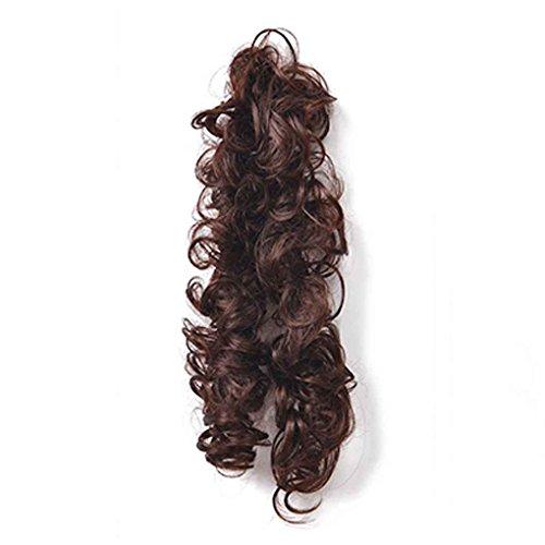 Babysbreath Frauen Horsetail Lange Haarteile Pferdeschwanz Wavy Lockige Haarverlängerung Dunkelbraun (Kurze Perücke Haarteil)