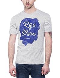 Maniac Mens Half Sleeve Grey Printed Cotton Tshirt