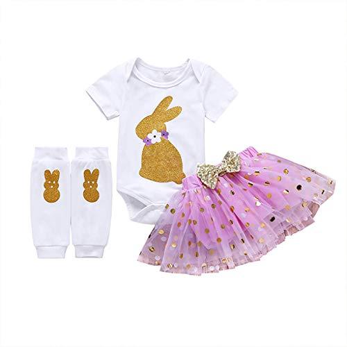 (JUTOO Kleinkind Baby Mädchen Ostern Cartoon Kleidung Kaninchen Druck Tops + Dot Printing Tutu Prinzessin Rock Tops + Socken Set (Lila,80))