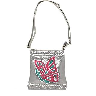 Texas West Frauen des Schmetterlings-Kreuz-Körper-Handtasche Mittelgrau