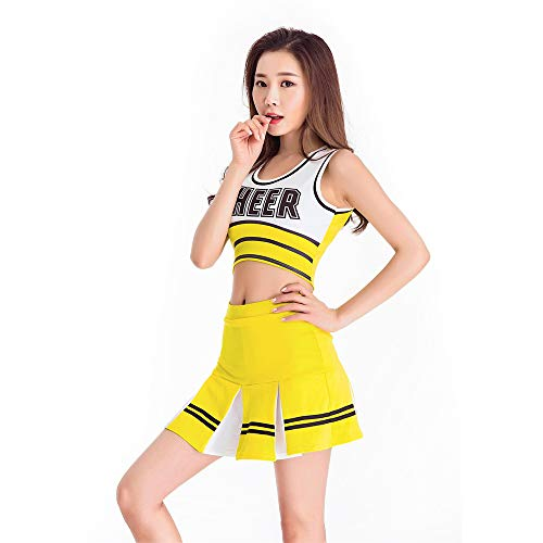Fancy Kostüm Dress Glee - ZQ Sexy High School Cheerleader Kostüm jubeln Mädchen Uniform Party Outfit Frauen Kostüm,Yellow,S