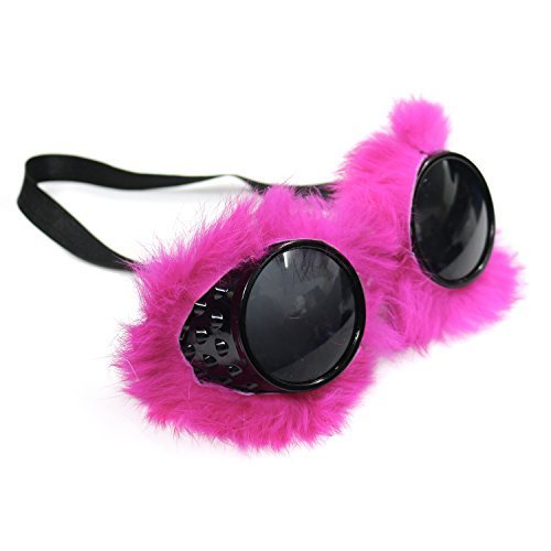 Unisex Steampunk Goggle Glasses - Fluffy Pink / Black steampunk buy now online