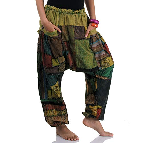Princess of Asia Weite Jeans Patchwork Hippie Hose Haremshose Aladinhose Pumphose für Damen & Herren 36 38 40 42 S M (Grün)