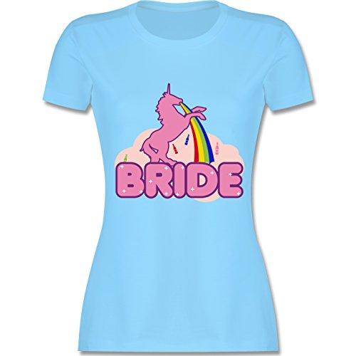 JGA Junggesellinnenabschied - JGA Bride Einhorn - tailliertes Premium T-Shirt mit Rundhalsausschnitt für Damen Hellblau