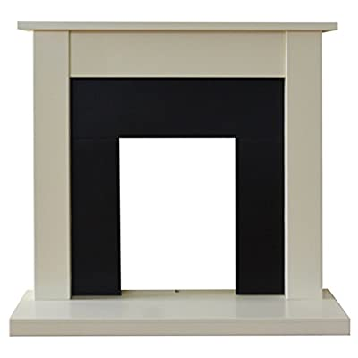 Adam Sutton Fireplace in Cream and Black, 43 Inch