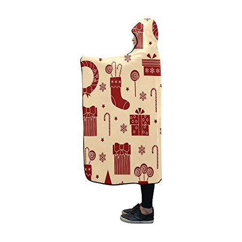 JOCHUAN Mit Kapuze Decke Weihnachtsikonen auf weißer Decke 60 x 50 Zoll Comfotable Mit Kapuze Wurfs-Verpackung -