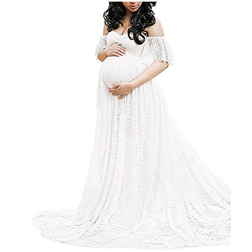 Elegant Photography Maternity Wrap Dress Women Pregnants Dress Floral Lace Off Shoulder Ruffle Sleeve Maxi Trailing Long Dress for Photo Shoot Wedding Evening Party Gown White