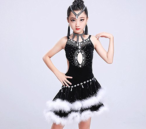 Latin Show Kostüm Tanz - HUOFEINIAO-Tanzkleidung Kinder Latin Dance Wettbewerb Kleidung Kinder Kostüme Kinder Latin Show Kleidung, 130cm, Black