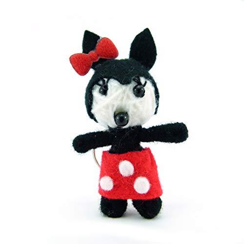 Minnie - Voodoo-Puppe Schlüsselanhänger als Seelentröster und Glücksbringer zum Sammeln und als Accessoire - Anhänger für Taschen Handy Autorückspiegel - Sorgenpüppchen Handgemacht aus Wolle und Stoff