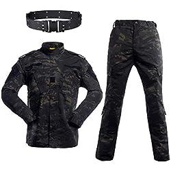 HAOYK Airsoft Paintball Combinaisons Tactiques Hommes Chasse Combat BDU Uniforme Veste Camo Chemise et Pantalon avec Ceinture pour Tir Chasse Guerre Jeu (M)