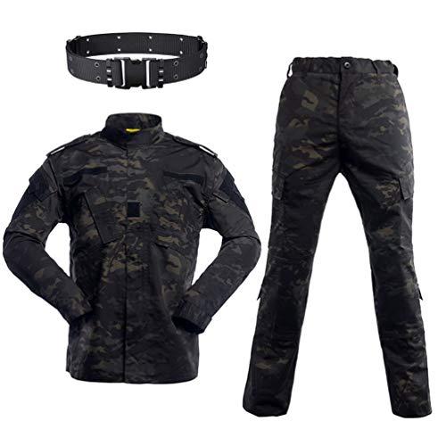 HAOYK Airsoft Paintball Trajes tácticos Hombres Caza Combate BDU Chaqueta de Uniforme Camisa y Pantalones con cinturón para Disparar Caza Juego de Guerra (L)