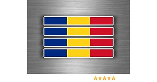 Akachafactory 4 X Selbstklebend Sticker Auto Moto Stripes Flagge Tuning Rumänien Auto