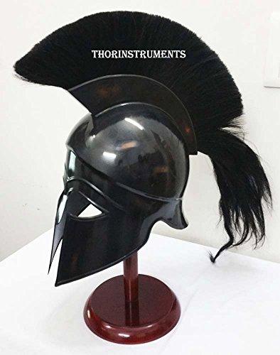 Griechisch Korinthischer Helm Antiken, mittelalterlichen Armor Replica Helm schwarz Plume mit...