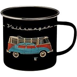 VW Collection by BRISA VW Bulli T1 taza esmaltada negro con rojo-azul Bulli/diseño de escarabajo