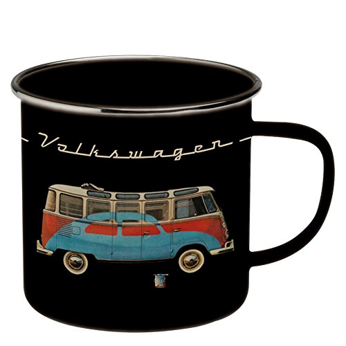 Brisa VW Collection VW T1 Bulli Bus Kaffeetasse emailliert schwarz mit rot-Blauem Bulli/Käfer Motiv