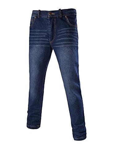 Allegra K Men Mid Rise Five Pockets Washed Denim Slim Fit Casual Jeans Blue W30