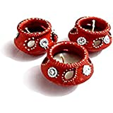 Indeasia Srijan HandCrafted & Hand Painted Earthen Wax Diwali Diyas Set Of 3 Earthen Diyas
