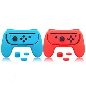 Griffe für Nintendo Switch Joy-Con, FYOUNG Griff-Controller mit gummierter Rutschfester Matter Oberfläche für Nintendo Switch Joy Con (2 Packungen), blau und rot