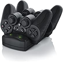 CSL - Estación de carga rápida para mandos 3 en 1 para PS3/PS3 Move/PS4   Cargador de control doble / Cargador / Estación de acoplamiento / Estación de carga doble con bloque de alimentación