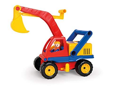 Lena 04351 - Aktive Bagger, ca. 35 cm, mit vollbeweglicher Spielfigur, Baustellen Spielfahrzeug für Kinder ab 2 Jahre, robuster Schaufelbagger mit funktionstüchtigen Baggeram und Haltegriff